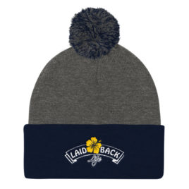 Laid-Back Life Flower Pom Knit Cap