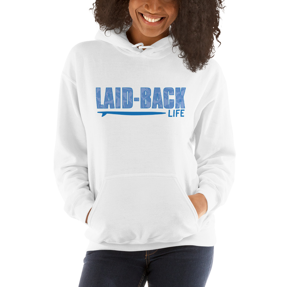 Laid Back Logo with Surfboard Hooded Sweatshirt